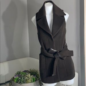 Marciano Choc Brown Wool Blend Belted Vest